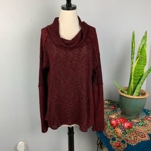 Free People Knit Cowl Neck Burgundy top